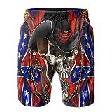 Jiekouren Flag of Cowboy Men's Beach Pants 3D Printed Fashion Polyester Adjustable Beach Sportwear 33