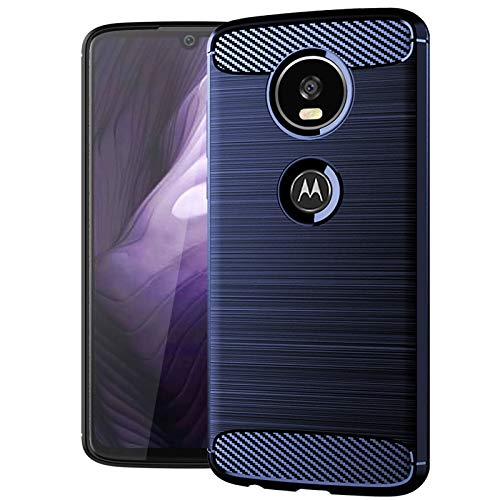 Moto Z4 Case,Moto Z4 Play Case,Slim Thin Silicone Soft Skin Flexible TPU Gel Rubber Anti-Scratch Shockproof Carbon Fiber Protective Cases Cover for Moto Z4 Play,Brushed Blue