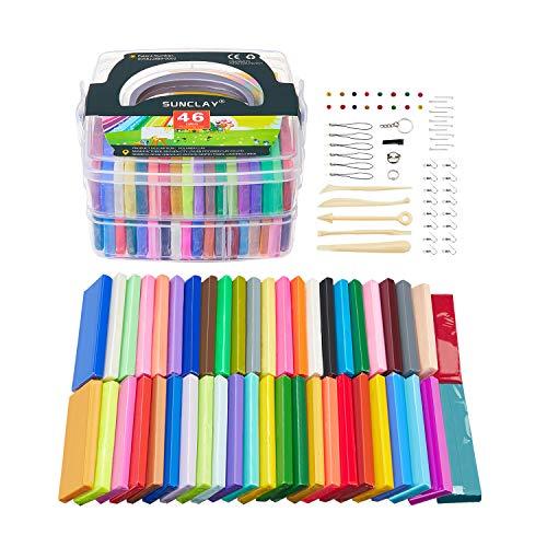 SUNCLAY ArcillaPolimerica - 1.28KG/2.82LB 46 Colores Segura y No Tóxico Modelado Suave Arcilla Craft Set con Herramientas de Escultura Accesorios y Manuales, los Mejores Regalos Para los Niños