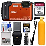Nikon Coolpix W300 4K Wi-Fi Shock & Waterproof Digital Camera (Orange) with 32GB Card...