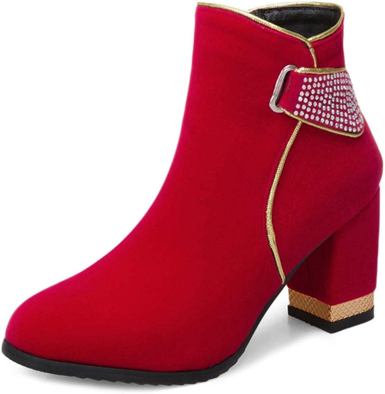 GIY Women's Sparkle Rhinestone Wedding Ankle Boots Round Toe Chunky High Heeled Zipper Dress Short Bootie
