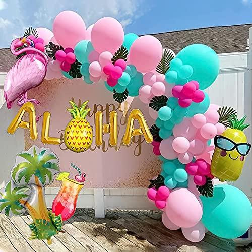 Latocos 110pcs Decoración Tropical Hawaian Globos Arco Kit con Hojas Selva Flamingo Globos Piña Arbol de Palmera Papel de Cóctel Globo para Luau Fiesta Hawaiana Playa Decoraciones