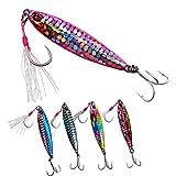 THKFISH 5 Piezas Señuelos de Pesca Spinning Cucharas Cebos de Cucharilla para Pesca Metal Trucha Bass Micro Jigs Jigging Bait 21g