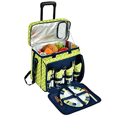 Picnic at Ascot Equipped Picnic Cooler with Service for 4 on Wheels - Trellis Green
