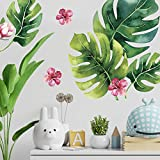 Tropical Flower Palm Leaf Wall Stickers - Tropical Leaves Decals - Foliage Monstera Wall Decal - Jungle Theo Leaf Decals - Banana Greenery Vinyl Décor Cling with Gift
