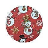 Juego de 6 manteles individuales redondos con forma de muñeco de nieve para Navidad, invierno, año n...