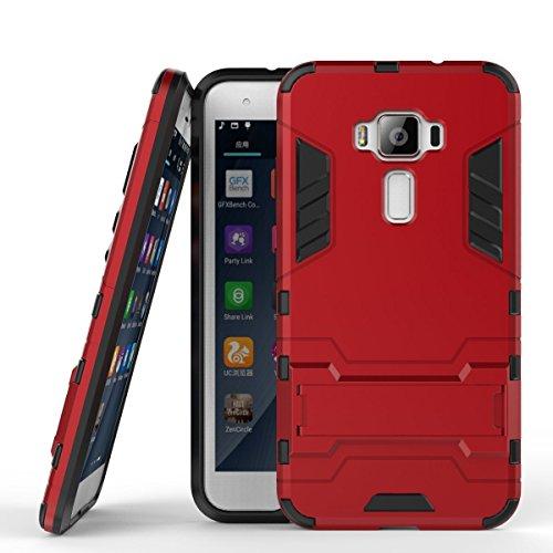 MaiJin Hülle für Asus ZenFone 3 ZE520KL (5,2 Zoll) 2 in 1 Hybrid Dual Layer Shell Armor Schutzhülle mit Standfunktion Hülle (Rot)