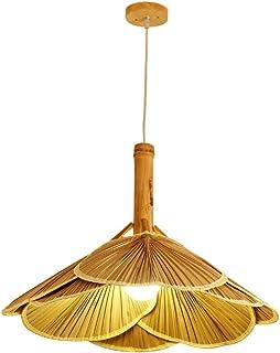Luz de bambú luces del ventilador rota pendiente de la lámpara de la lámpara retro accesorios de mimbre Cuerpo de iluminación de la lámpara del techo del comedor de la lámpara colgante granja E27