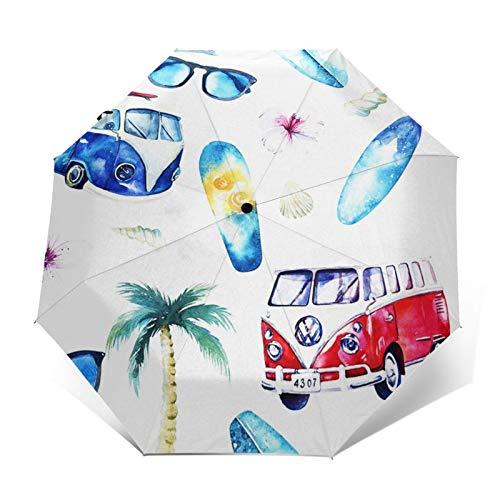 Paraguas Plegable Automático Impermeable Bicicleta de Aventura en la Playa, Paraguas De Viaje Compacto a Prueba De Viento, Folding Umbrella, Dosel Reforzado, Mango Ergonómico