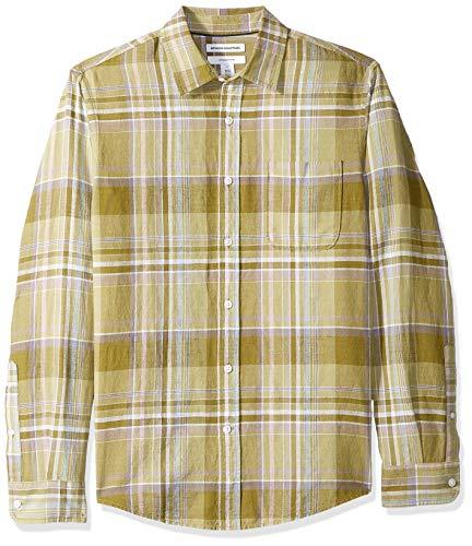 Amazon Essentials - Camisa de lino con manga larga, corte entallado y estampado para hombre, verde oliva (Olive Plaid), US M (EU M)
