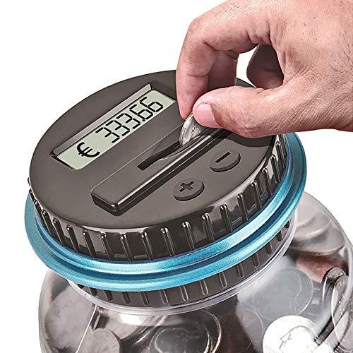 Verdelife Caja de Dinero con Tarro de conteo de Monedas, Caja de Ahorro de Dinero con conteo de Monedas Digital, Regalo de Ahorro de Monedas con Pantalla LCD de Tarro para (Euro)