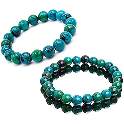 1/2/3Pcs Diabetes Relief Chrysocolla Bracelet, Handcrafted 8mm Natural Elastic Chrysocolla Crystal Energy Beaded Bracelets Make You Full of Energy Every Day for Women (2Pcs)