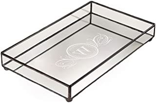 J Devlin TRA 108 ET202 Personalized Glass Jewelry Tray Vanity Organizer Decorative Dresser Tray Mirror Bottom Monogrammed Custom Engraved