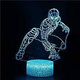 XKUN Lumière 3D Pour Enfants, Lampe D'Illusion D'Optique 3D Nuit 3D Spider Man T Nuit D'Enfants Pour Garçons Filles Lampe de Bureau de Table 16 Lampe de Décor À Changement de Couleur,Spider-Man U