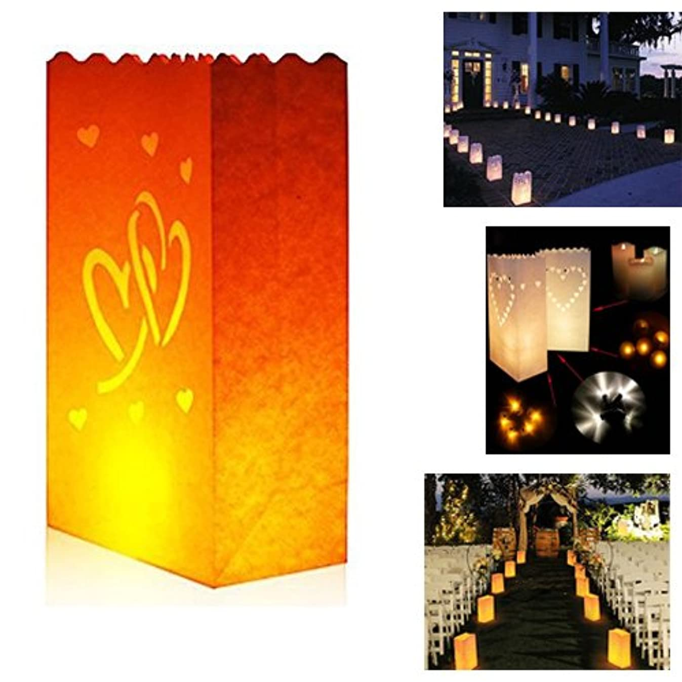 Zaptex Luminary Paper Lantern Candle Tea Light Bag with Flame Resistant Paper for Holiday Wedding Party Decorations (50 Pcs, Double Heart)