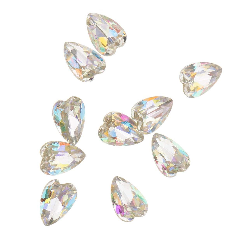 Fenteer 10個 3D ネイルチャーム ネイルアート キラキラ おしゃれ ダイヤモンド ヒント 5タイプ選べ - ハート2