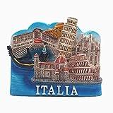 MUYU Magnet Florence Colosseum, Pisa Leaning Tower, Venecia, Catedral de Milán de Italia 3D Nevera imán Tourist Souvenir Regalo magnético calcomanía Collection