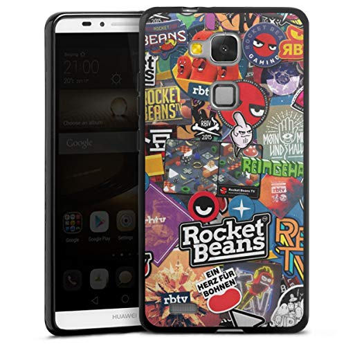 DeinDesign Silikon Hülle kompatibel mit Huawei Ascend Mate 7 Hülle schwarz Handyhülle Rocket Beans TV Comic YouTube