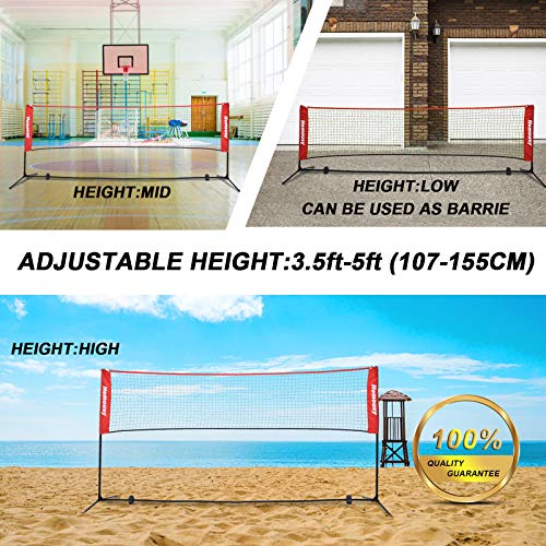 wowspeed Badminton Net Set Height Adjustable 107-155CM Portable Tennis Net with Poles and Stand Carry Bag Foldable Volleyball Net for Garden Schoolyard Beach Indoor Outdoor Adult Kids (red, 300)