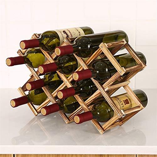 Botellero plegable de madera para botellas de vino, estante de madera, organizador de almacenamiento para armario de exhibición retro (color: 10 botellas antiguas)