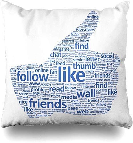 Mesllings Kissenbezug, Word-Media-Design, mit Daumen und Texten, Social Headline Netzwerk wie Online, Tweet, Community, Comment, Home Decor Kissenbezug, 45 x 45 cm