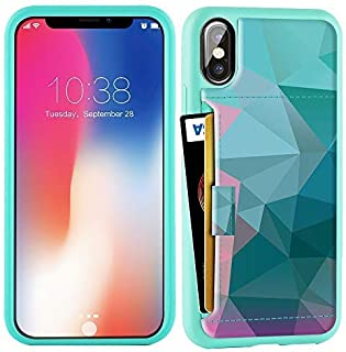 ZVE Wallet Case for Apple iPhone Xs and X, 5.8 inch, Wallet Case with Credit Card Holder Slot Slim Leather Pocket Protective Case Cover for Apple iPhone Xs and X 5.8 inch (Aries Series)- Diamond