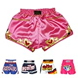 Thaismai Women Lady Muay Thai Boxing Training Shorts (Pink with Heart,M)