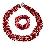 Bling Jewelry Rojo teñido Coral racimo Chips Bib Declaración Collar Collar Pulsera Pulsera Conjunto de Joyas para Las Mujeres