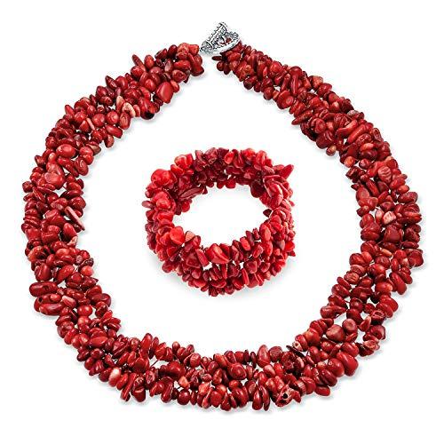 Bling Jewelry Plaquettes de Pierre gemme Couleur Cluster Multi Strand Necklace Collier Bib Déclaration Bracelet Bangle Bijoux en Coffret pour Les Femmes