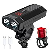 WAKYME Bike Light Set, 5200mAh USB Rechargeable Bicycle Light with Power Bank Function and Intelligent LED Display Headlight Taillight Combinations LED Road Cycling Commuter Flashlight