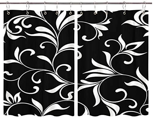 BOKEKANG Cortinas para Ventana de Cocina,Leaf White Flowers On Line Negro Ornamental Abstracto Antiguo,Cortina Corta para Cocina Decoración de Ganchos para Baño,Pack 2,140x100cm