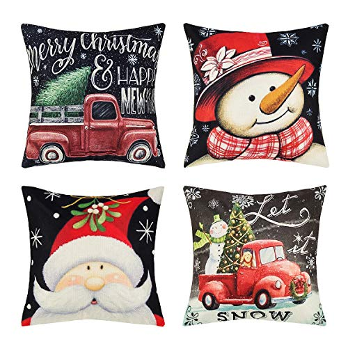 Set of 4 Merry Christmas Throw Pillow Covers Snowman Pillow Case Xmas Pillow Cushion Cover Decorative for Holiday Home Car Sofa Bed Couch, 18 x 18 Inch (Christmas)