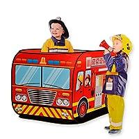 消防車テント ポップアップ キッズテント 折り畳み – Happytime ZM17014 ファイヤートラック ゲームハウス 折りたたみ 屋内遊具 車両 贈り物 知育玩具