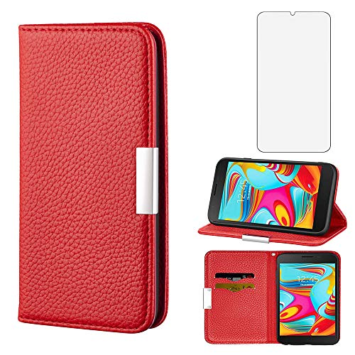 Wallet Phone Case for Samsung Galaxy S7 Edge with Tempered Glass Screen Protector Cover and Cell Accessories Card Holder Slot Stand Flip Protective Glaxay S7edge S 7 Plus GS7 7edge Leather Cases Red