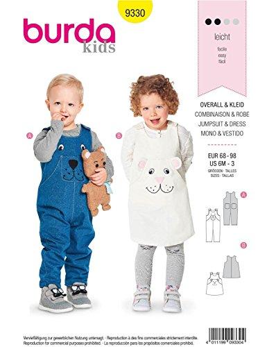 Burda 9330 Schnittmuster Kleid und Overall (Kids, 68-98) Level 2, leicht