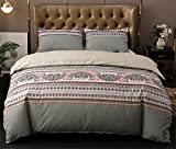 Xiongfeng Bohemian Full/Queen Duvet Cover Set Grey Striped Boho Chic Bedding Set Ultra Soft Microfiber Paisley Comforter Cover Exotic Reversible Bedding Set Beige Gray