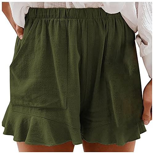 YANFANG Pantalones Cortos Casuales para Mujer,Shorts De Alta Elasticidad Color SóLido Verano Mujer con Bolsillo,Naranja,Verde Oiscuro,Azul Oscuro,S,M,L,XL,XXL