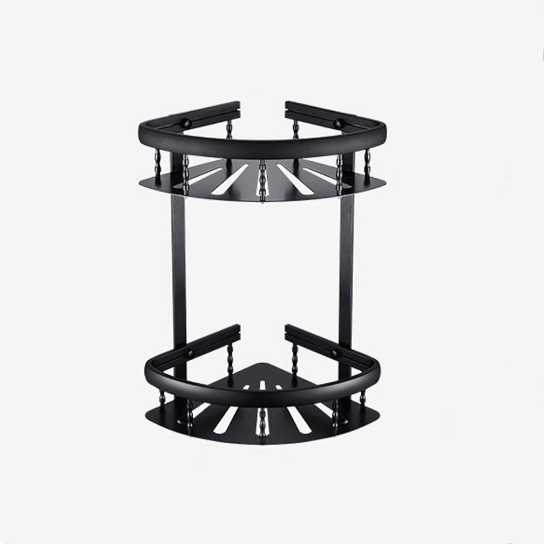 Triangle Basket Rack Corner Rack Bathroom Hardware Accessories No Drilling Black Double European Space Aluminum Decorative Frame