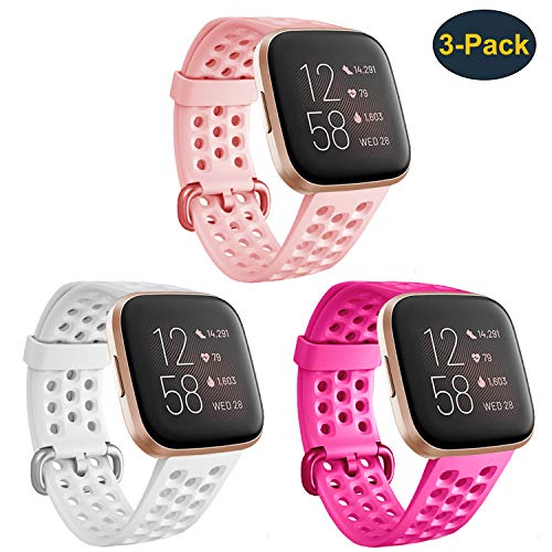 Bands Compatible with Fitbit Versa 2/Versa/Versa Lite/Versa SE for Women Men, Silicone Adjustable Replacement Strap Sport Wristband Accessories for Versa Smartwatch Large