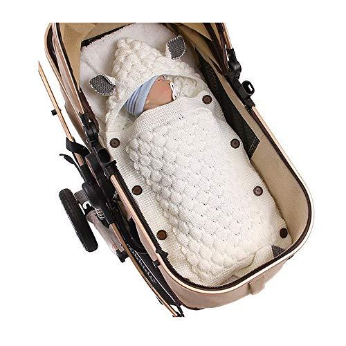 puseky Manta de bebé recién Nacido Manta de Punto Crochet Invierno cálido Saco de Dormir con Capucha para niños niñas Cochecito Cuna Abrigo