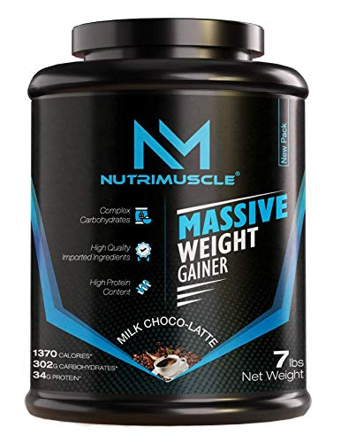NUTRIMUSCLE MASSIVE WEIGHT GAINER - 7LBS - 3.175 KGS - CHOCO LATTE FLAVOUR - FOR WEIGHT GAIN - MADE IN INDIA
