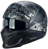 Scorpion Exo-COMBAT OPEX Motorrad Jethelm Street Fighter - matt schwarz silber