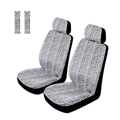Copap Snow Leopard Front Seat Covers Animal Pattern 2 Seat Belt Pads & 2 Headrest Covers Universal Fit for Car Truck SUV & Van Leopard Print Animal Pattern