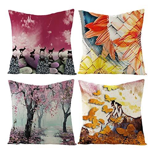 AmDxD Juego de 4 fundas de almohada cuadradas de lino de 50 x 50 cm, diseño de flores y mariposas, color naranja y rosa