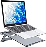 Nulaxy Foldable Laptop Stand, Portable Aluminum Computer Riser, Adjustable Macbook Cooing Holder for MacBook Air Pro, Dell, HP, Lenovo from 10-15.8'' Laptops, Grey