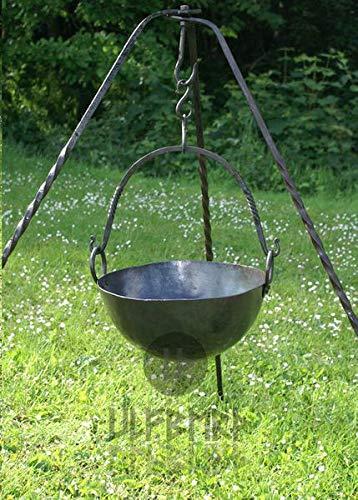 Runder Lagertopf aus Stahl Gulaschkessel Mittelalter Lagerleben LARP Wikinger Topf Lagerküche 2,5 Liter oder 7,5 Liter (7,5 Liter)