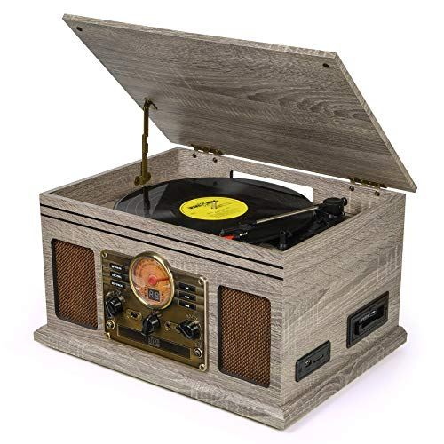 Record Player Vinyl Turntable with Speakers – USB MP3 Playback/ Bluetooth/ FM Radio/ CD & Cassette Player/ Vinyl LP Records/ SD Card Reader
