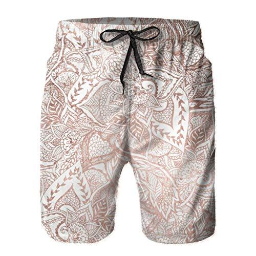 Bañador para hombre, color oro rosa, flores florales de secado rápido, con cordón, pantalones cortos de playa con bolsillos