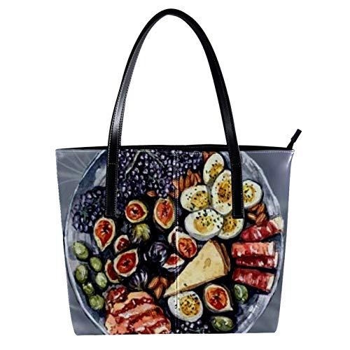 LORVIES Déjeuner équilibré sur le plan nutritionnel Sac à bandoulière en cuir PU et sacs à main Sac fourre-tout pour femmes