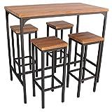 Yelloo Table de bar rectangulaire et 4 tabourets marron mod. FIRENZE table 110 x 66 x H 110 cm